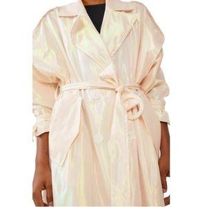 Zara Iridescent Belted Lapel Trench Coat